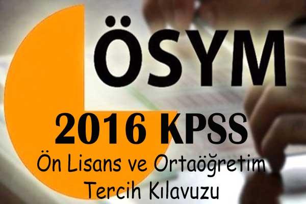 2016 kpss ön lisans ve ortaögretim tercih kılavuzu